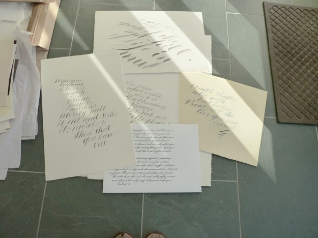 a compilation of calligraphy work