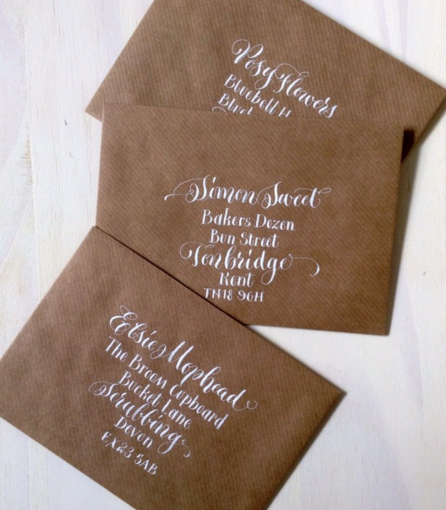white-quirky-calligraphy-on-manilla-envelopes-devon-uk