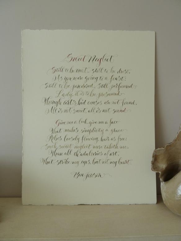 calligraphy-poem-sweet-neglect-by-Ben-Jonson-UK