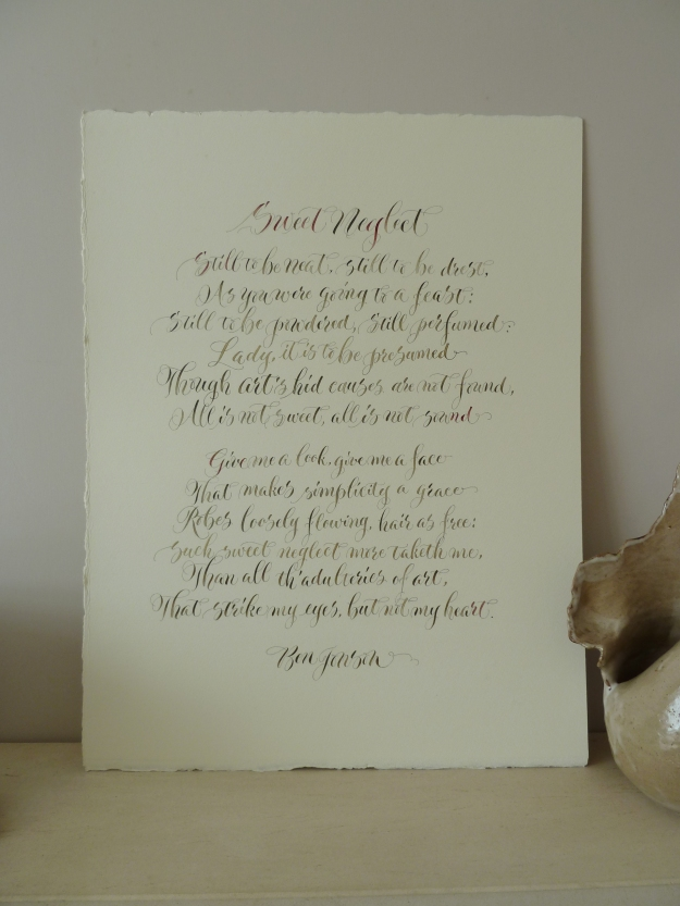 calligraphy-poem-sweet-neglect-by-Ben-Jonson-UK