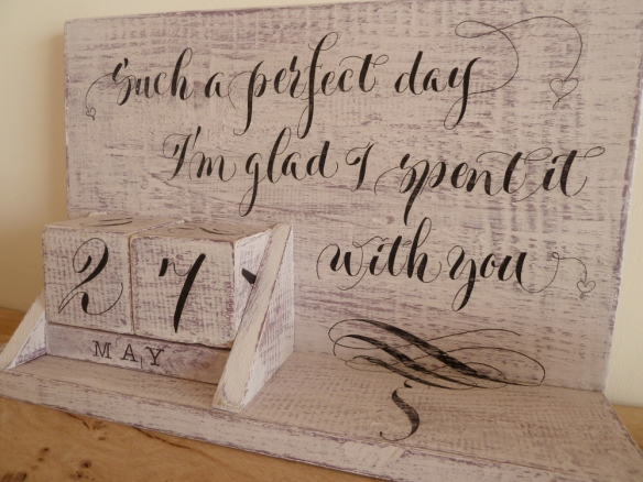 wooden-calendar-with-hand-lettered-calligraphy-style-writing-devon-uk