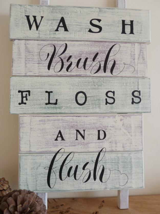 wooden-shabby-chic-bathroom-sign-with-handpainted-calligraphy-inspired-lettering-devon-uk