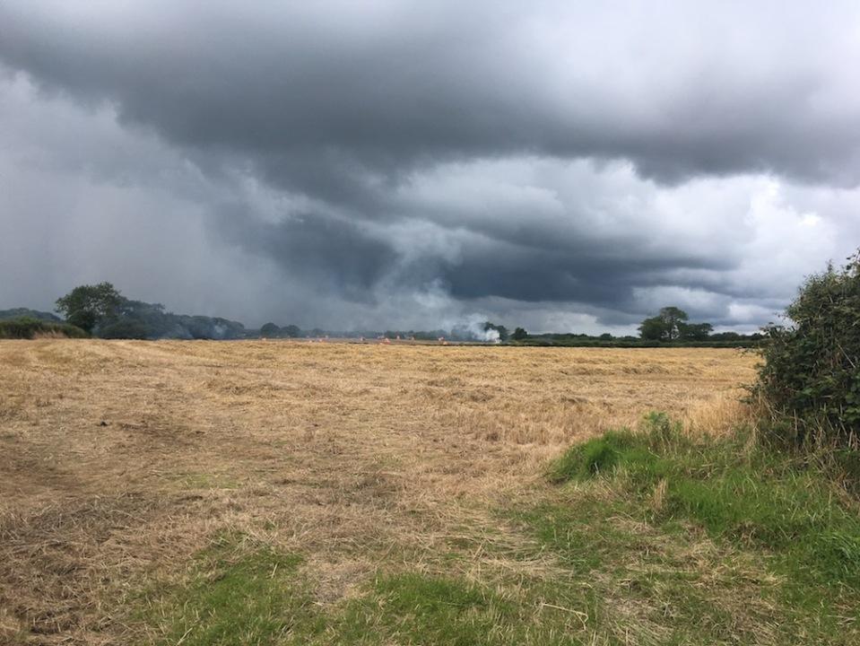 a field in devon with black sky 2017