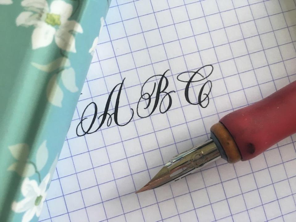ABC-calligraphy-with Nikko-G-nib-for-calligraphy-blog-2017