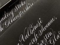 white-copperplate-lettering-on-black-envelopes-for-halloween-uk