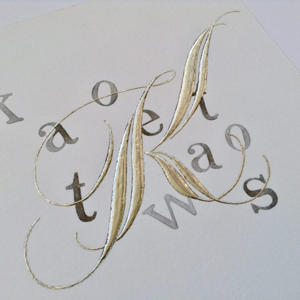 capital K gilded contemporary calligraphy capital letter uk