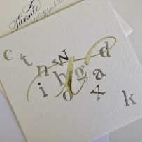 Contemporary gilded letter t with genuine gold leaf