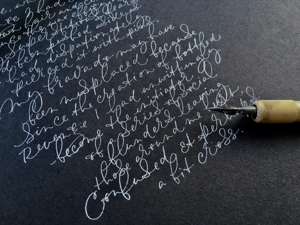 modern-calligraphy-white-ink-on black-paper-fine-art-style-uk