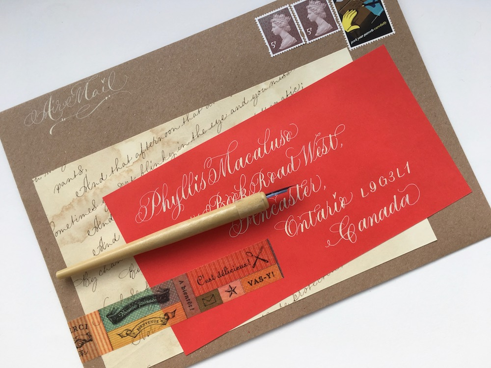 calligraphy address label for envelope wonky words
