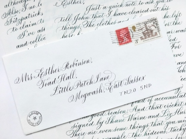 envelope-addressed-in-copperplate-style-calligraphy-script-to-mrs-esther-robinson-crown-mill-envelope-and vintage-stamps-uk