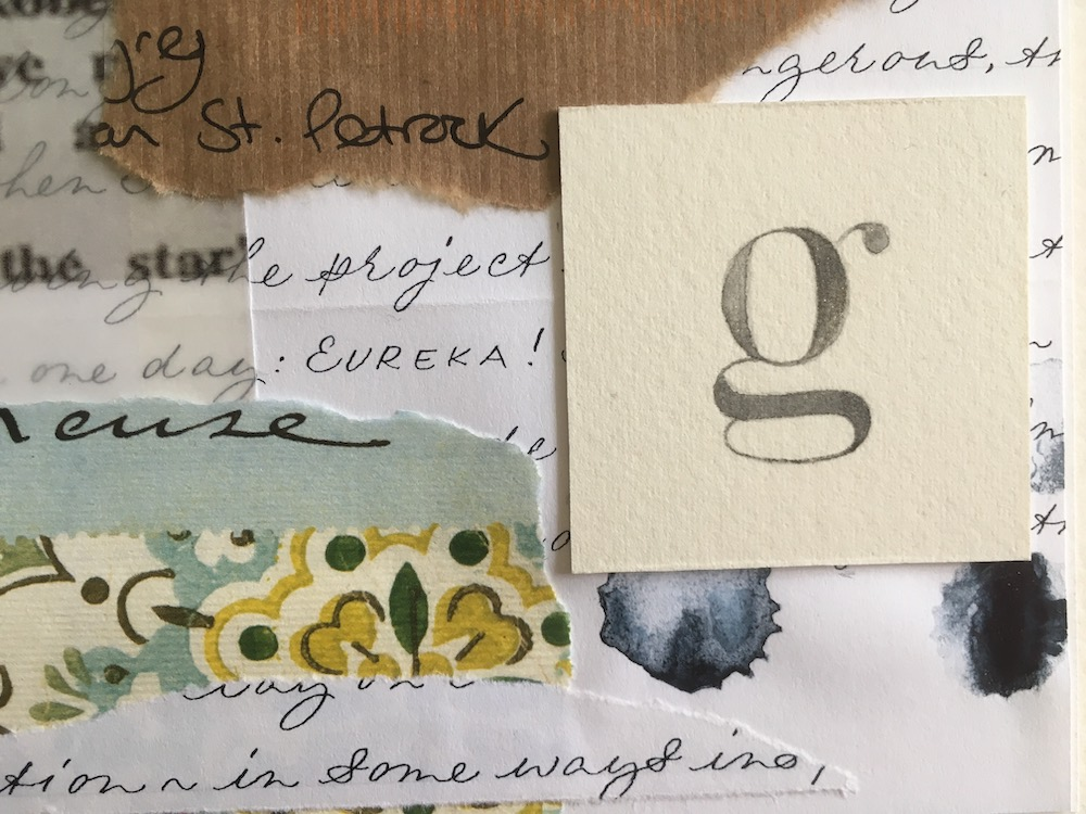 purpose of image: To show up close detail of collage, focussing on calligraphy, layers, and text.