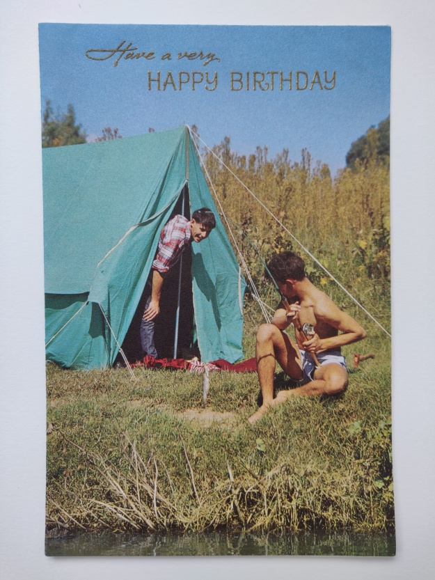 vintage-1970's-birthday-card-featuring-two-young-men-camping-by-a-river-uk