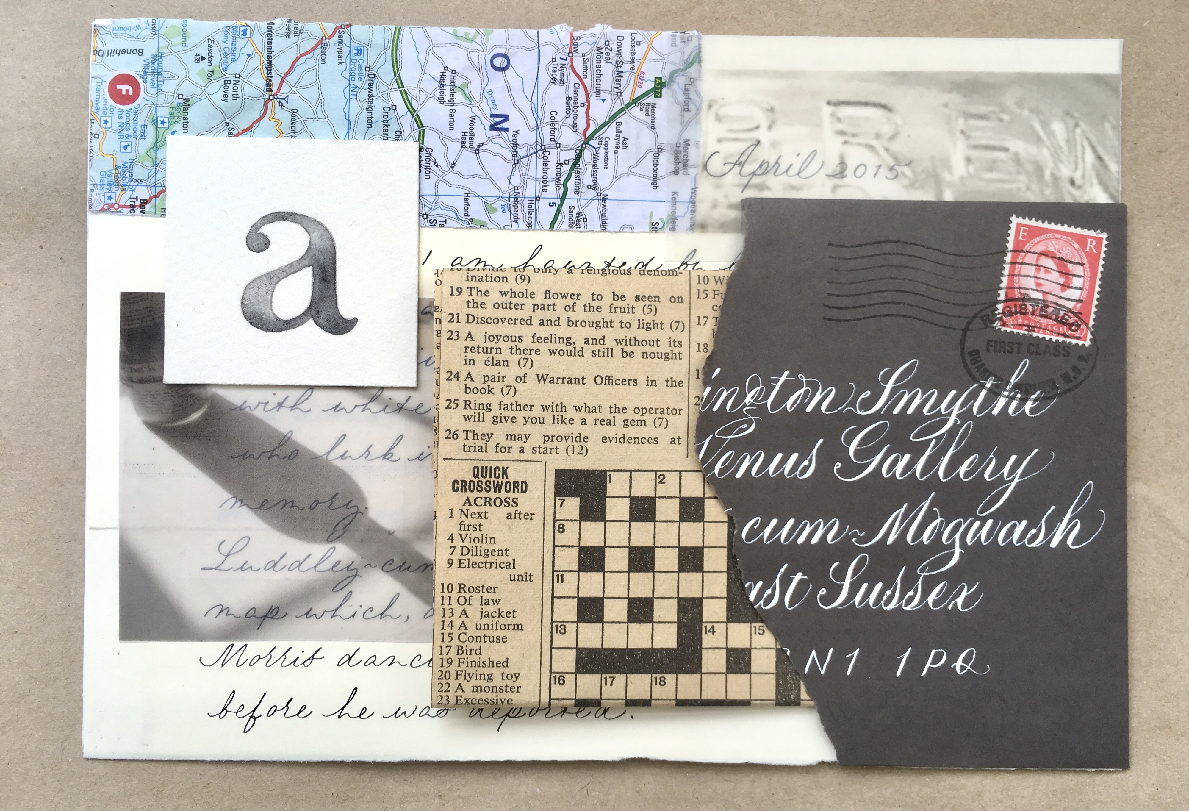 interactive-collage-featuring-calligraphy-and-vintage-crossword-from-1968-mixed-media-uk